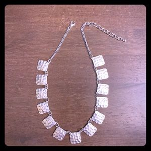 Hammered Silver Square Necklace